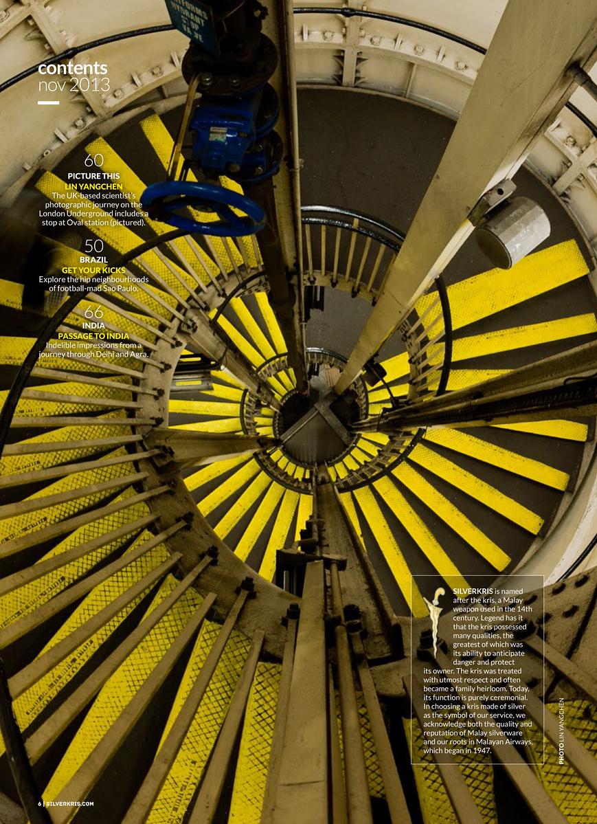 Singapore Airlines inflight magazine SilverKris London Underground Tube150 Oval station spiral stair